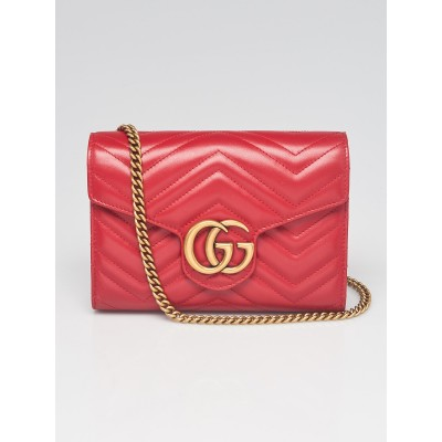 Gucci Red Quilted Leather GG Marmont 2.0 Chain Wallet Clutch Bag