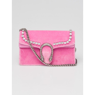 Gucci Pink Velvet and Crystal Dionysus Super Mini Chain Bag