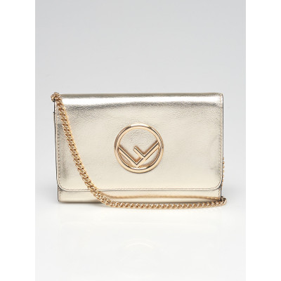 Fendi Gold Leather Wallet On Chain Bag 8BS012