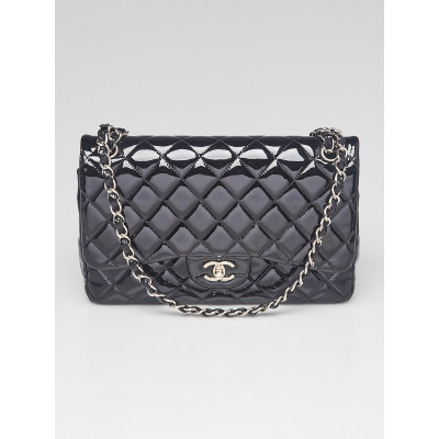 Chanel Black Quilted Patent Leather Classic Jumbo Double Flap Bag