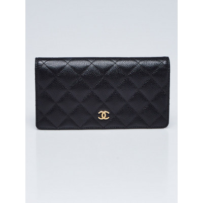 Chanel Black Quilted Caviar Leather L Yen Holder Wallet