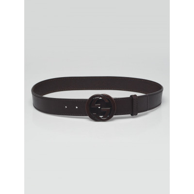 Gucci Brown Leather Interlocking Covering G Belt Size 90/36