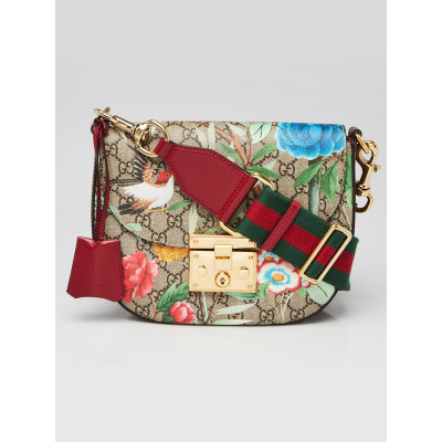 Gucci Beige Multicolore Coated Canvas Tian Padlock Crossbody bag