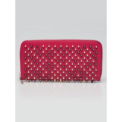 Christian Louboutin Rosa Leather Panettone Gold and Silver Spikes Zip-Around Wallet