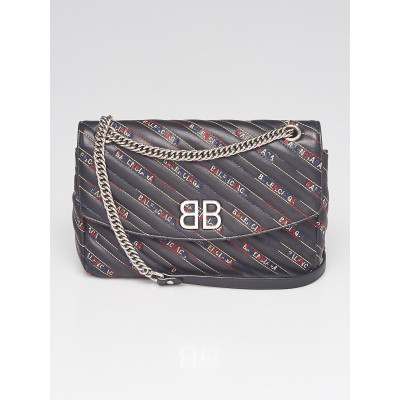 Balenciaga Black/Multicolor Embroidered Leather BB Round Medium Bag