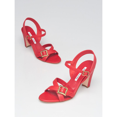 Manolo Blahnik Red Leather Open Toe Ankle Strap Buckle Sandals Size 8.5/39