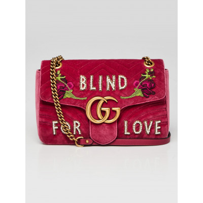 Gucci Pink Quilted Velvet Embroidered Blind for Love Medium Marmont Bag