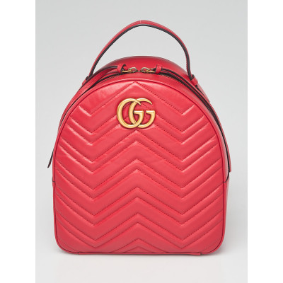 Gucci Red Quilted Leather Marmont Backpack Bag