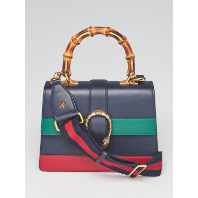 Gucci Blue/Green/Red Striped Leather Bamboo Top Handle Medium Dionysus Bag