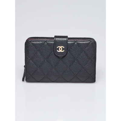 Chanel Black Quilted Caviar Leather L-Zip Compact French Purse Wallet