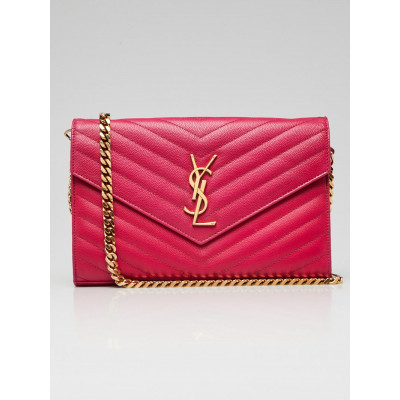 Yves Saint Laurent Pink Grained Leather Envelope Wallet on Chain Bag