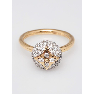 Louis Vuitton 18k Yellow Gold and Diamond B Blossom Ring Size 6.5/53