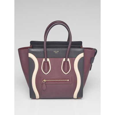 Celine Tri-Color Smooth Calfskin Leather Micro Luggage Tote Bag
