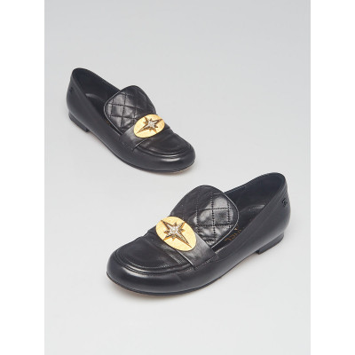 Chanel Black Quilted Lambskin Leather Star Moccasins Loafer Size 8/38.5