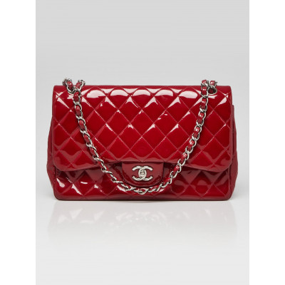 Chanel Red Quilted Patent Leather Classic Jumbo Double Flap Bag