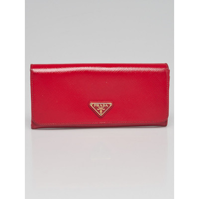 Prada Red Patent Saffiano Metal Leather Continental Wallet 1M1132