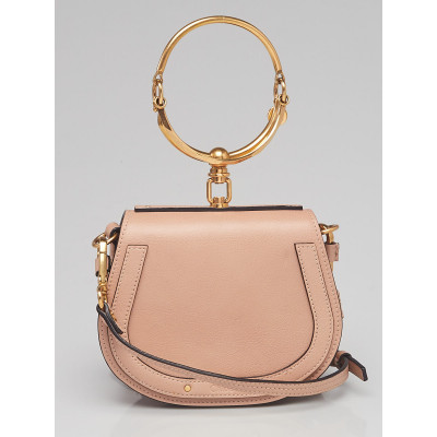Chloe Beige Leather and Suede Small Nile Bracelet Bag
