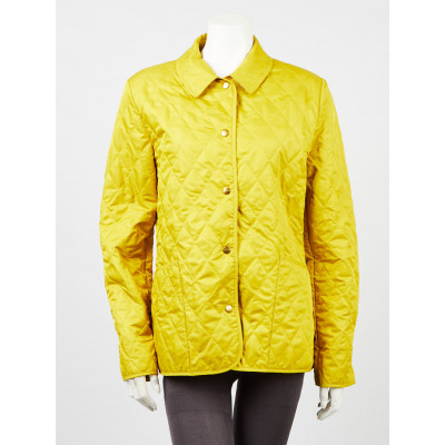 Burberry Yellow Diamond Quilted Cotton/Polyester Constance Jacket Size S