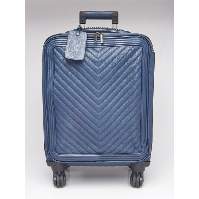 Chanel Blue Chevron Quilted Leather Coco Case Trolley Rolling Suitcase
