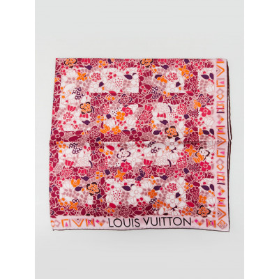 Louis Vuitton Pink/ Red Flower Print Silk Square Scarf