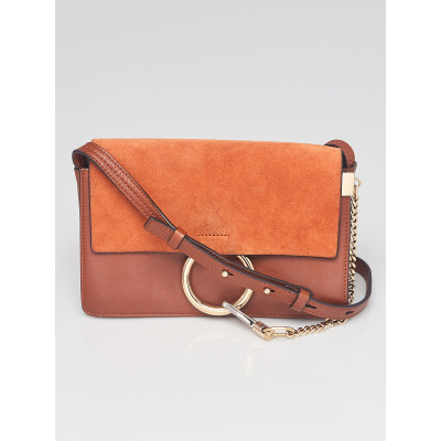 Chloe Tobacco Leather and Suede Small Faye Bag