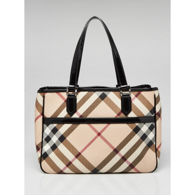 Burberry Black Patent Leather Nova Check Coated Canvas Tote Bag