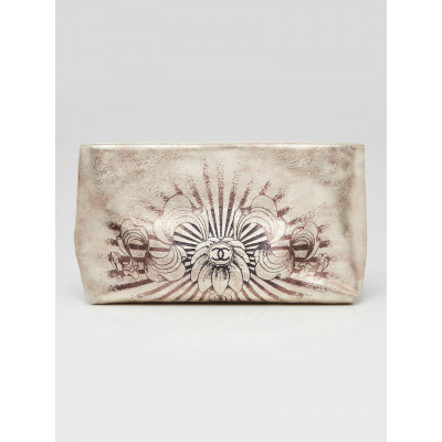Chanel Gold Leather Clutch Hand Painted Paris-Bombay CC Clutch Bag