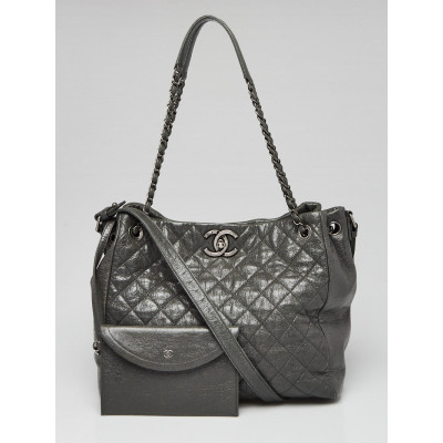 Chanel Grey Quilted Glazed Leather CC Tote Bag