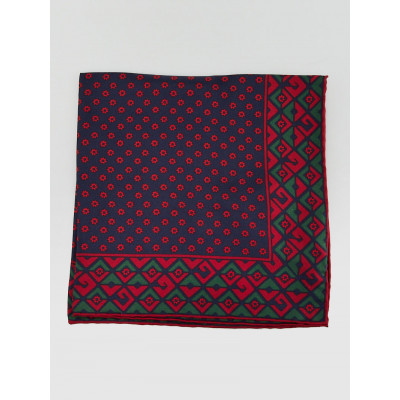 Gucci Blue/Red Plainmetric Print Silk GG Square Twilly Scarf