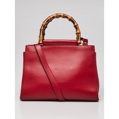 Gucci Red Smooth Calfskin Leather Nymphaea Small Top Handle Bag