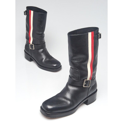 Christian Dior Black Leather Striped Motorcycle Boots Size 6.5/37