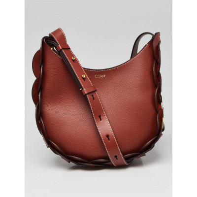 Chloe Sepia Brown Grained Leather Small Darryl Hobo Bag