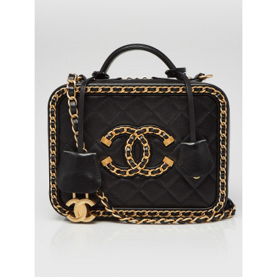Chanel Black Quilted Goatskin Leather Chain Around Filigree Vanity Case Bag