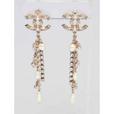 Chanel Crystal Faux Pearl and Goldtone Metal CC Drop Earrings