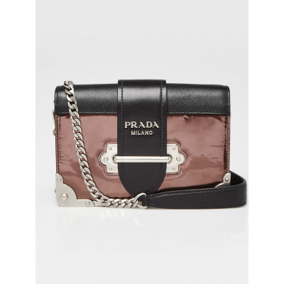 Prada Brown/Black Patent and Saffiano Leather Cahier Bag 1BH018