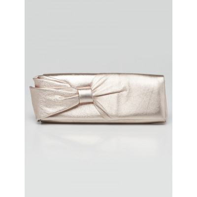 Christian Louboutin Rose Gold Leather Bow Clutch Bag