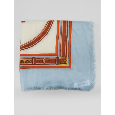 Burberry Blue and Orange Cashmere Belted Logo Shawl Scarf