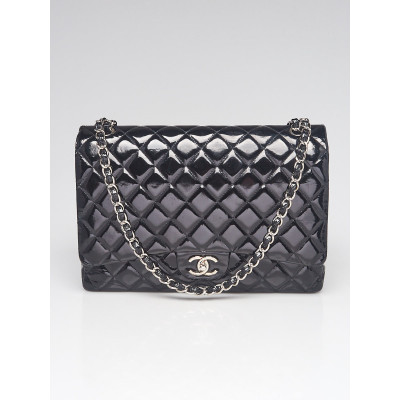 Chanel Black Quilted Patent Leather Classic Maxi Double Flap Bag