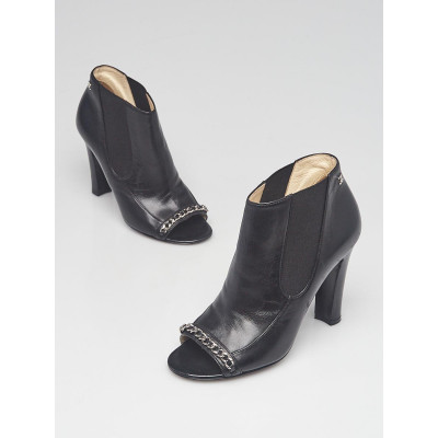 Chanel Black Lambskin Leather Peep Toe Chain  Ankle Booties Size 5.5/36