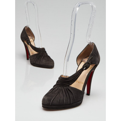 Christian Louboutin Dark Grey Ruched Suede Drapiday 120  Size 4.5/35
