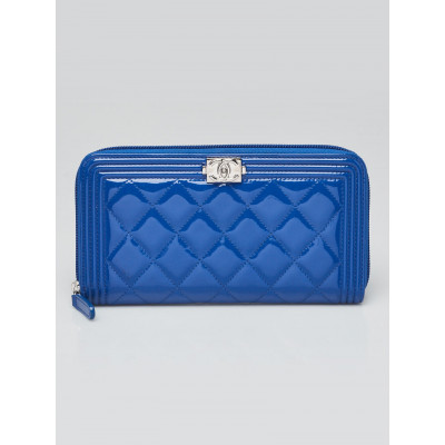 Chanel Blue Quilted Patent Leather Boy Zippy Wallet