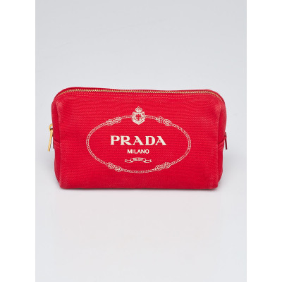 Prada Red Canvas Logo Cosmetic Pouch