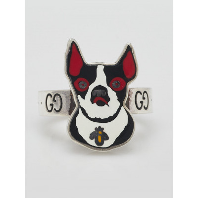 Gucci Sterling Silver Bosco and Orso Boston Terrier Dog GG Ring Size 7/15