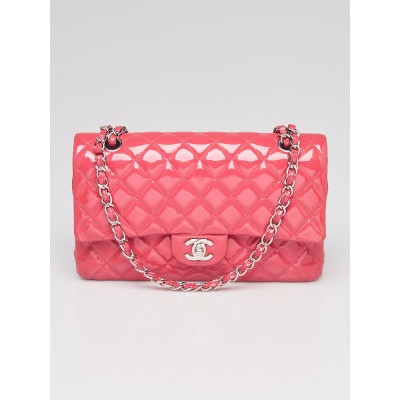 Chanel Pink Quilted Patent Leather Classic Medium Double Flap Bag