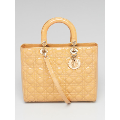 Christian Dior Beige Cannage Quilted Patent Leather Large Lady Dior Bag
