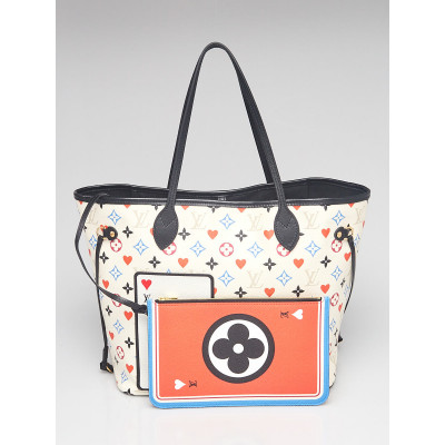 Louis Vuitton White Multicolor Monogram Canvas Game On Neverfull MM Bag