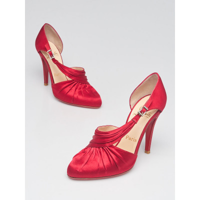 Christian Louboutin Red Crepe Satin Drapinight Jeweled D'Orsay 100 Heels Size 5/35.5