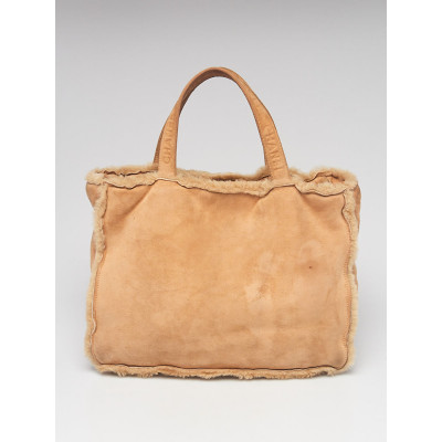 Chanel Beige Suede and Shearling Tote Bag