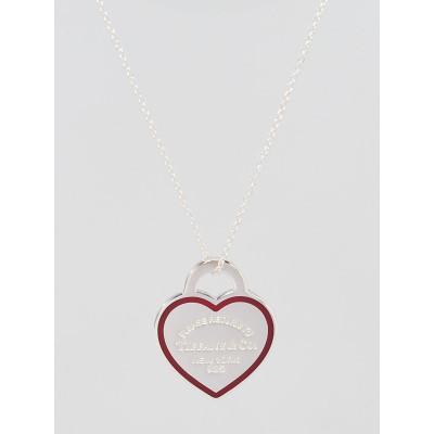Tiffany & Co. Sterling Silver and Red Enamel Return To Tiffany Heart Tag Pendant Necklace