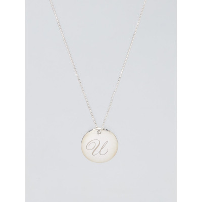 Tiffany & Co. Sterling Silver Tiffany Notes 'U' Disc Charm Necklace